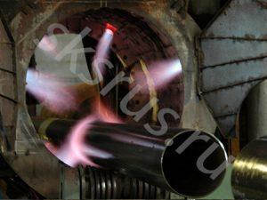 Обжиг труб для нанесения ВУС изоляции